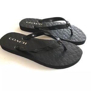 Coach sandals flip flop black new
